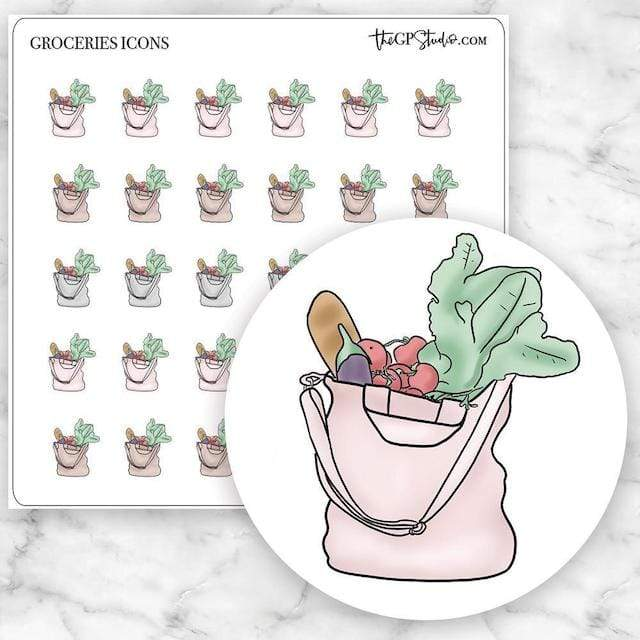 GROCERIES Icon Planner Stickers-The GP Studio