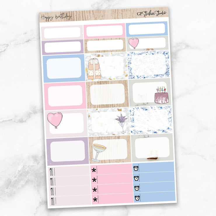 HAPPY BIRTHDAY Half Boxes Planner Stickers-The GP Studio
