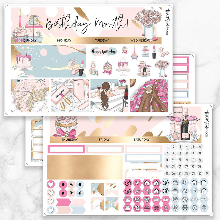 HAPPY BIRTHDAY Monthly View Sticker Kit-The GP Studio