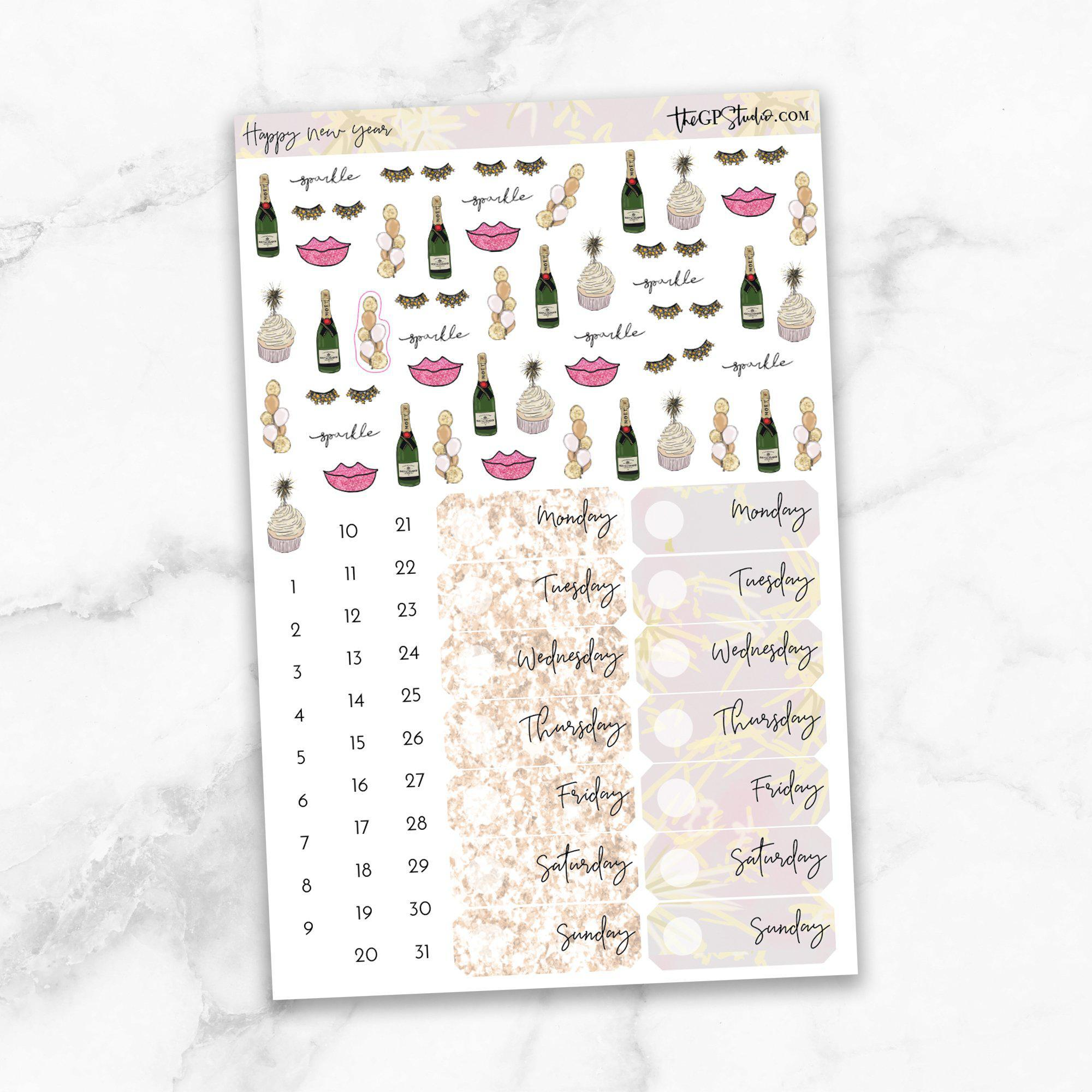 HAPPY NEW YEAR Deco & Date Cover Stickers-The GP Studio