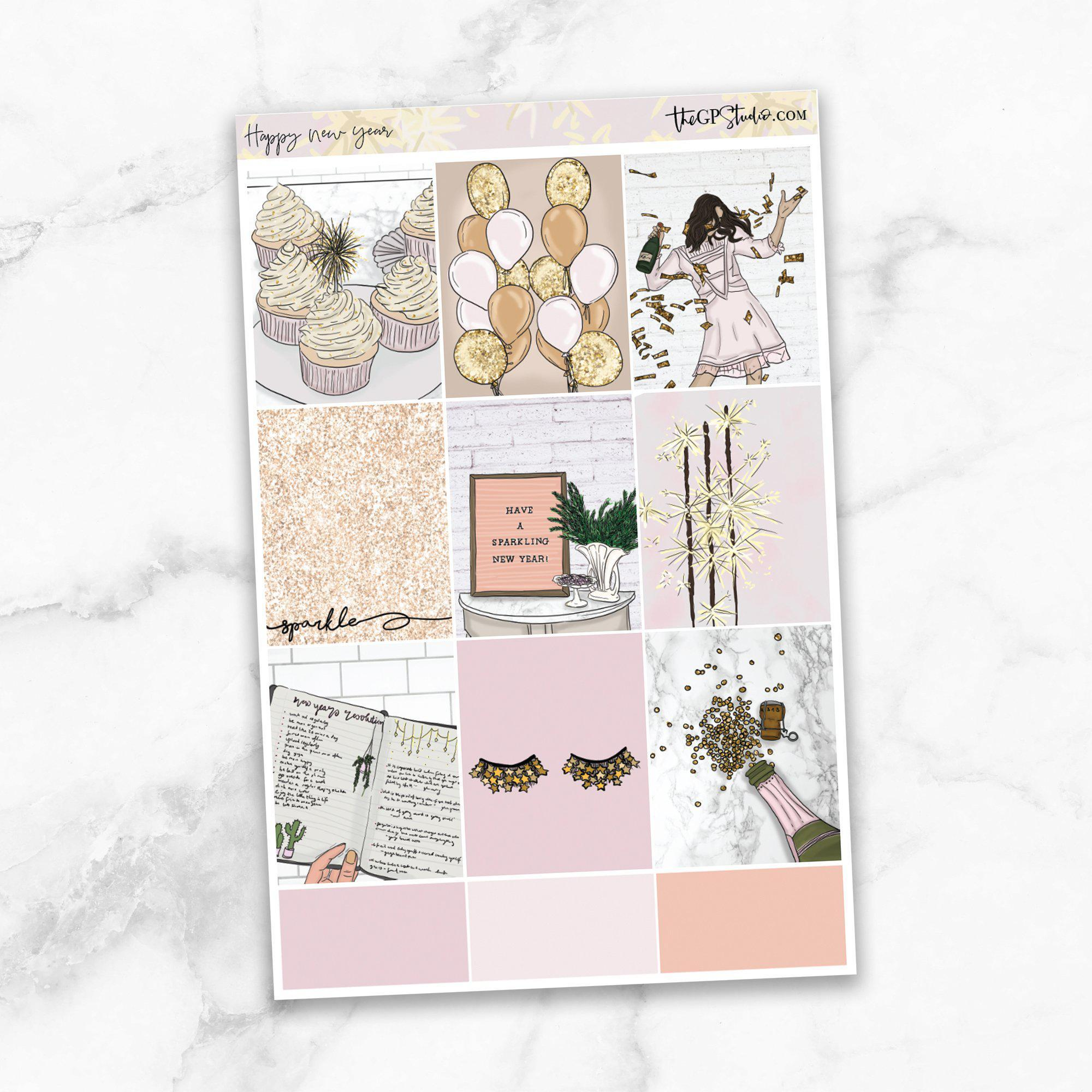HAPPY NEW YEAR Full Boxes Planner Stickers-The GP Studio