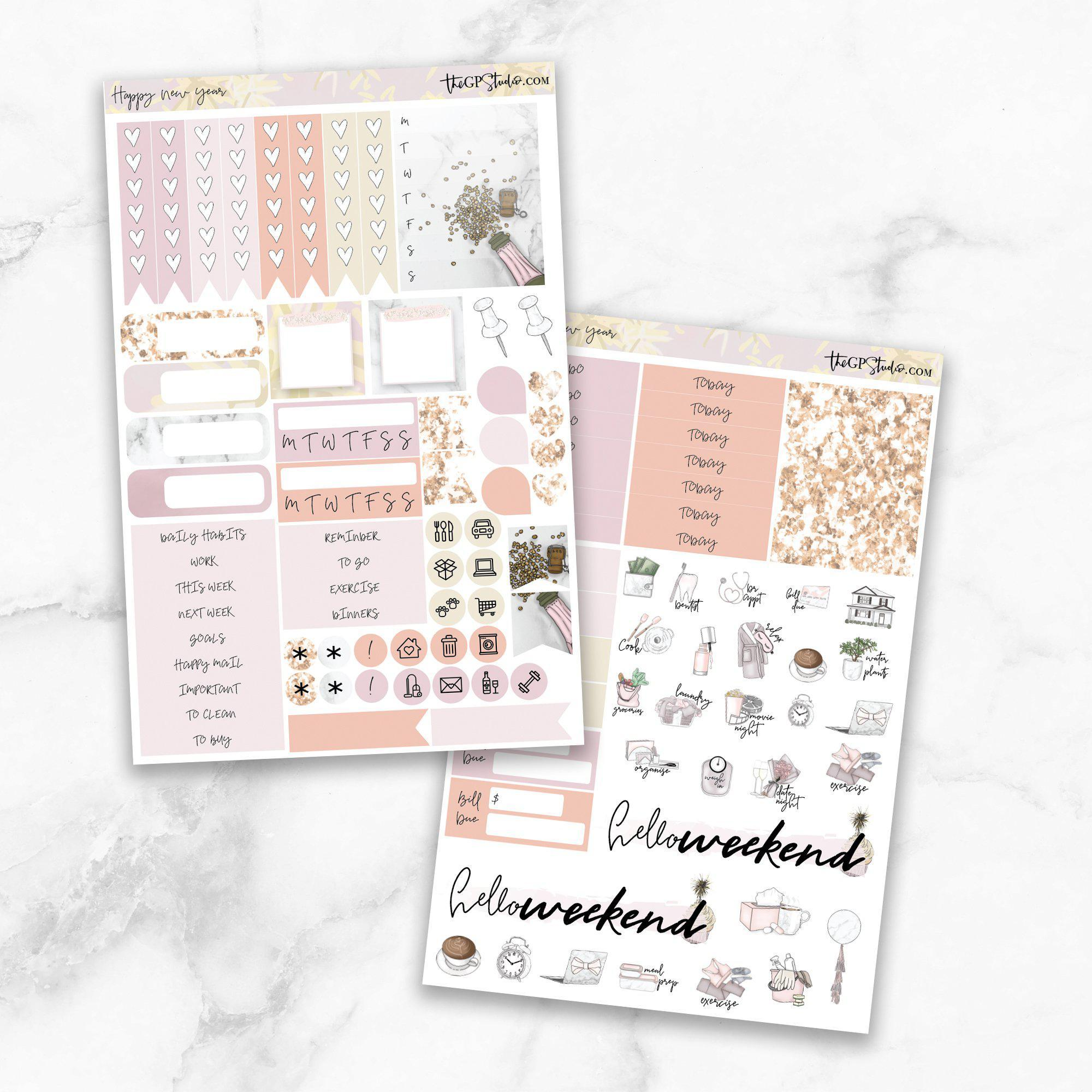 HAPPY NEW YEAR Functional Planner Sticker Kit-The GP Studio
