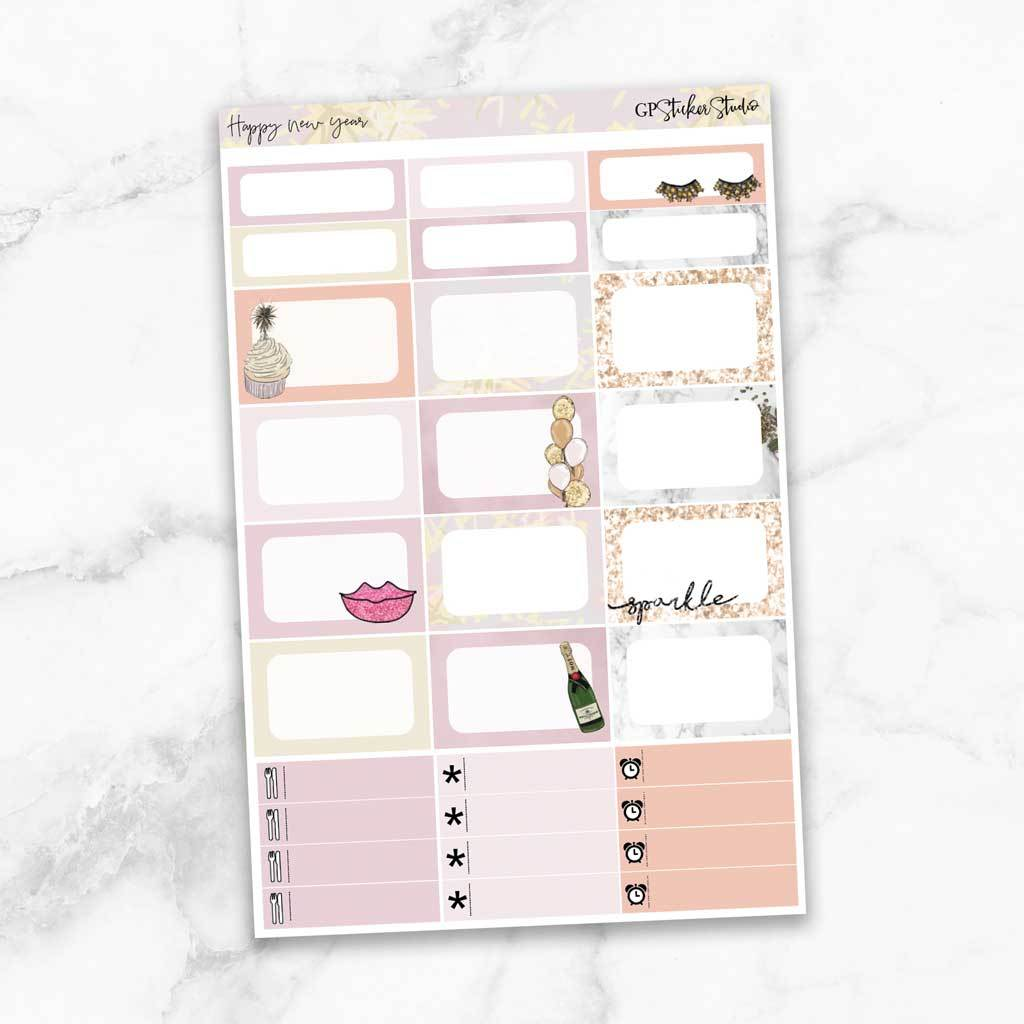 HAPPY NEW YEAR Half Boxes Planner Stickers-The GP Studio