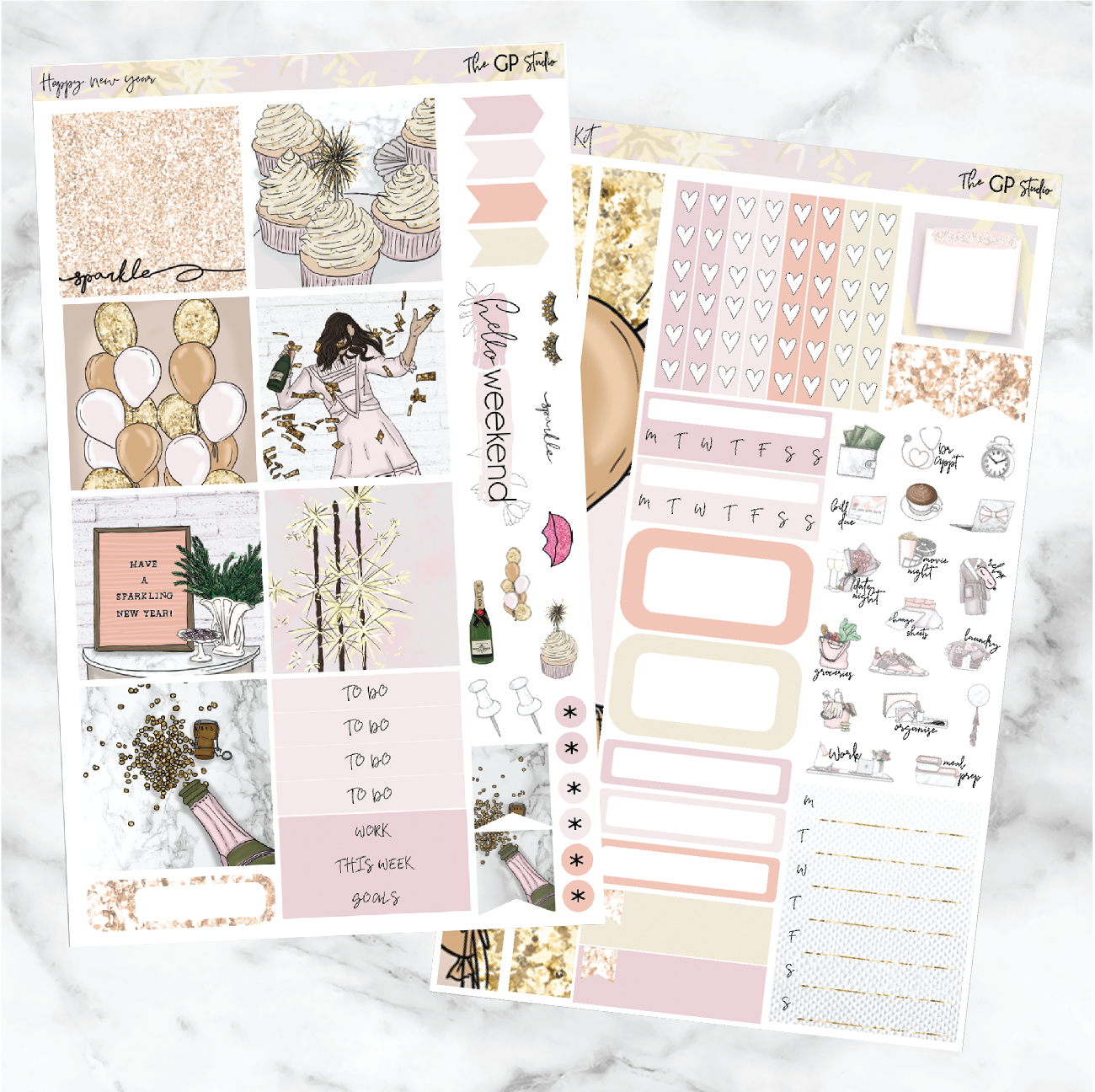 HAPPY NEW YEAR Mini Size Planner Sticker Kit-The GP Studio