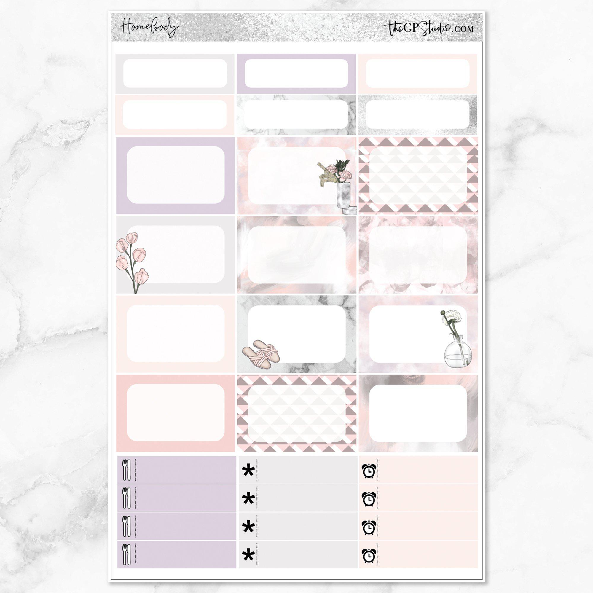 HOMEBODY Half Boxes Planner Stickers-The GP Studio