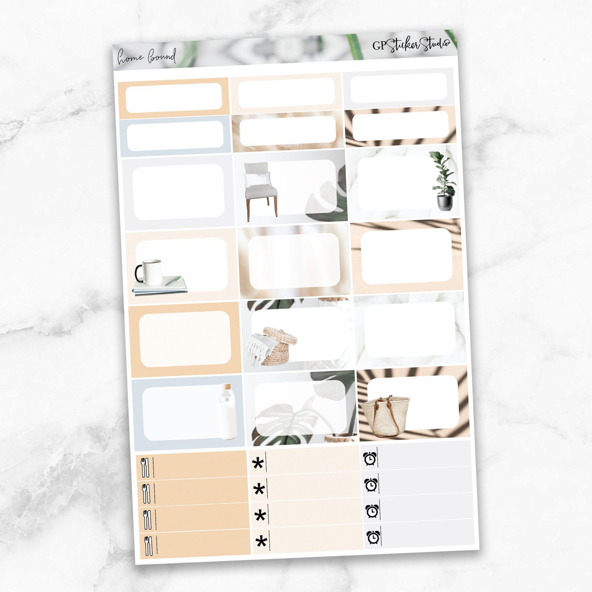 HOMEBOUND Half Boxes Planner Stickers-The GP Studio