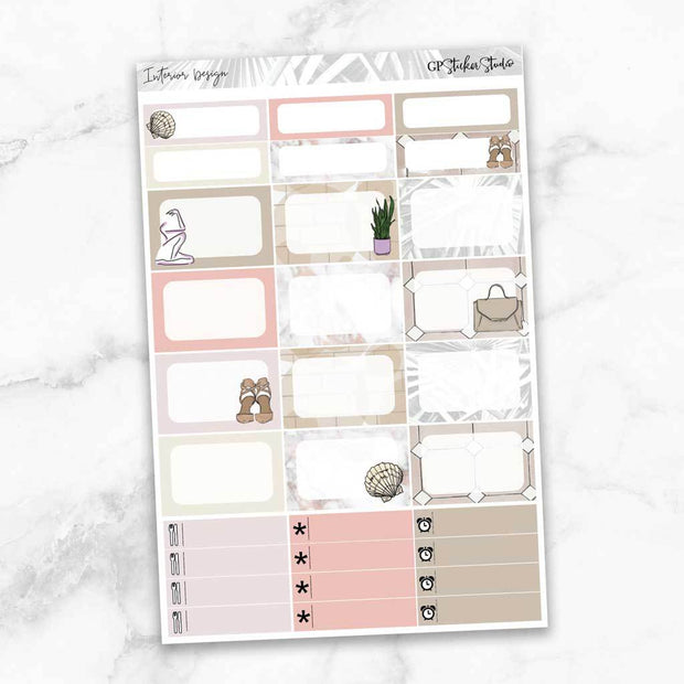 INTERIOR DESIGN Half Boxes Planner Stickers-The GP Studio