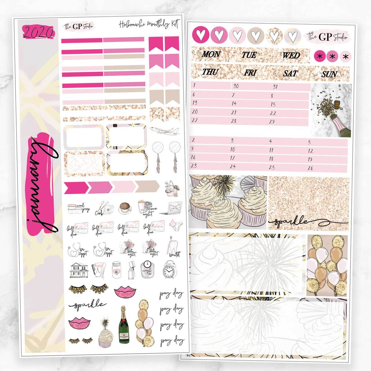 JANUARY 2020 MONTHLY Sticker Kit Hobonichi Week's Size-The GP Studio