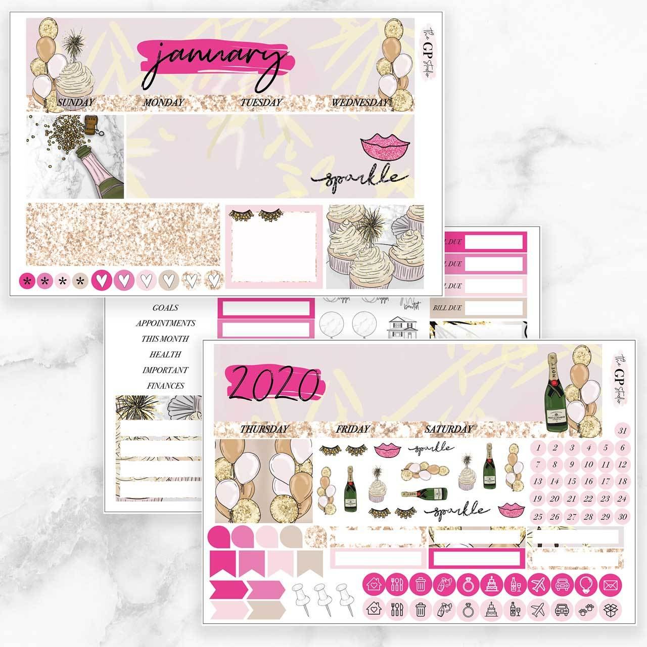 JANUARY 2020 Monthly View Sticker Kit Erin Condren Size-The GP Studio