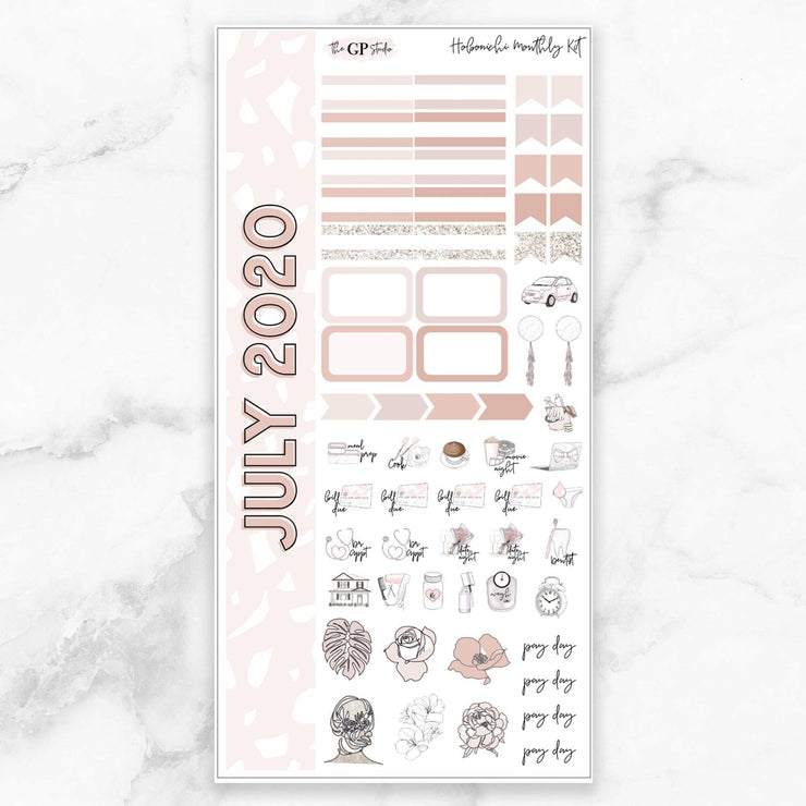 JULY 2020 MONTHLY Sticker Kit Hobonichi Week's Size-The GP Studio