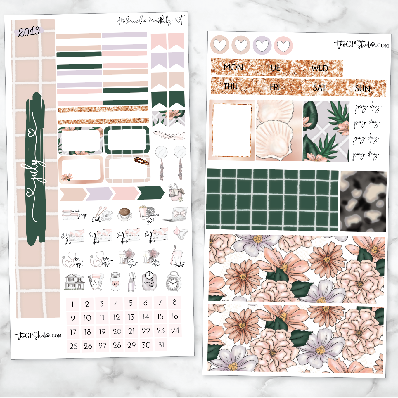 JULY MONTHLY Sticker Kit Hobonichi Week's Size-The GP Studio