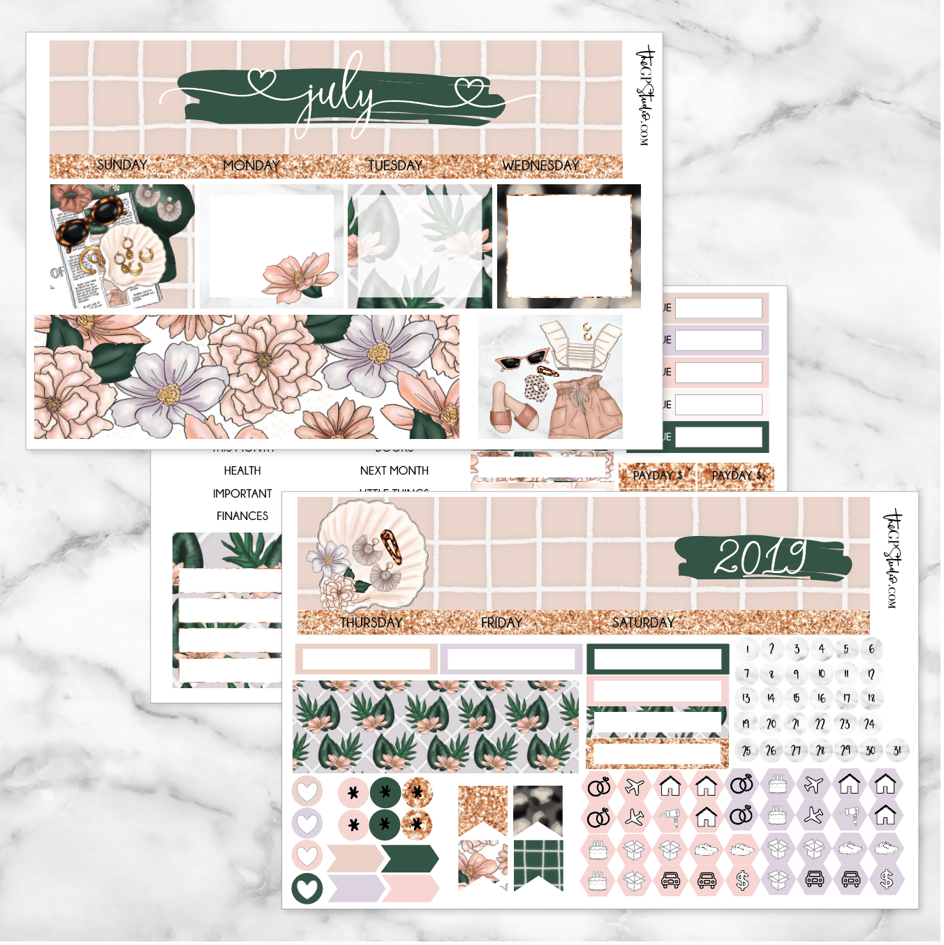 JULY Monthly View Sticker Kit Erin Condren Size-The GP Studio