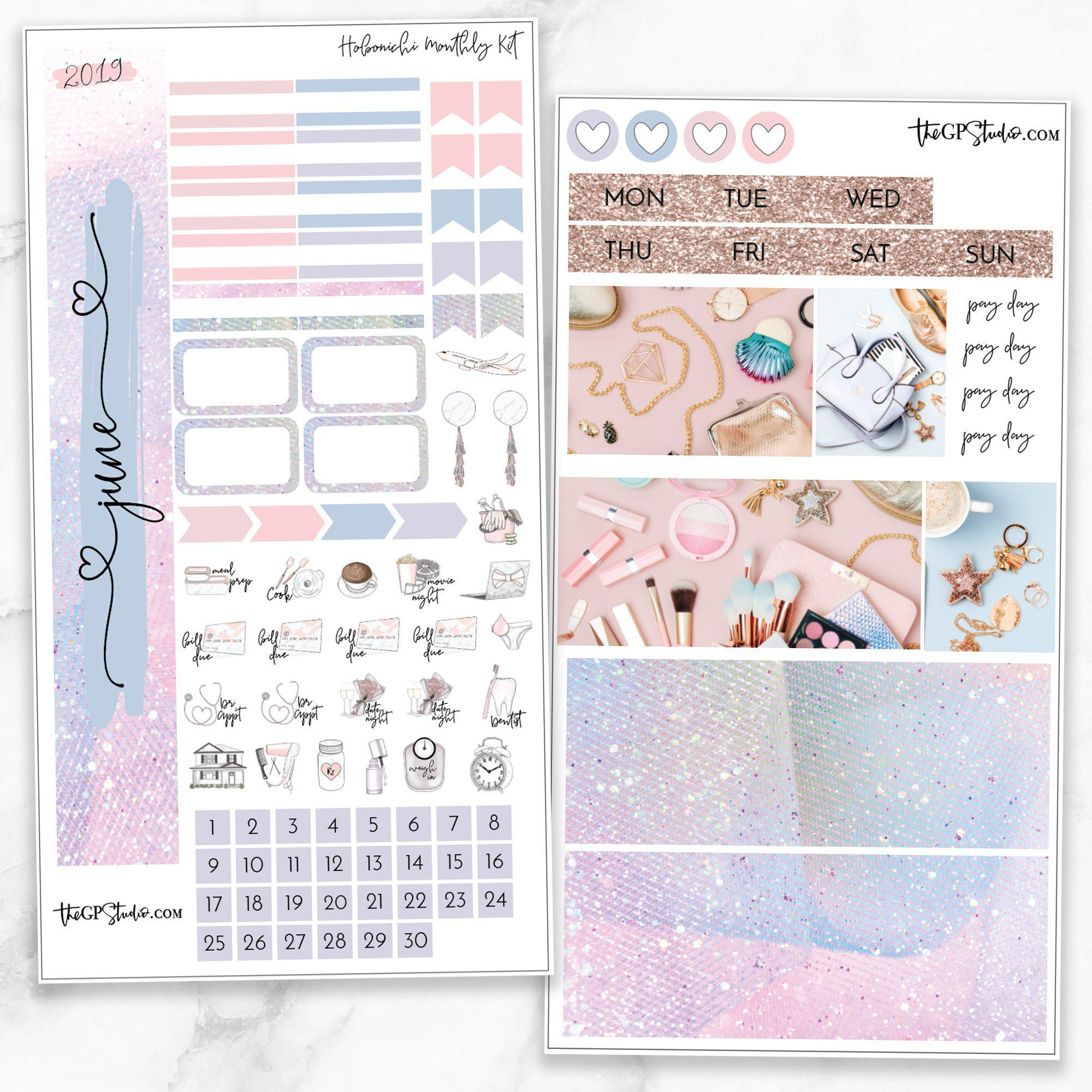 JUNE MONTHLY Sticker Kit Hobonichi Week's Size-The GP Studio