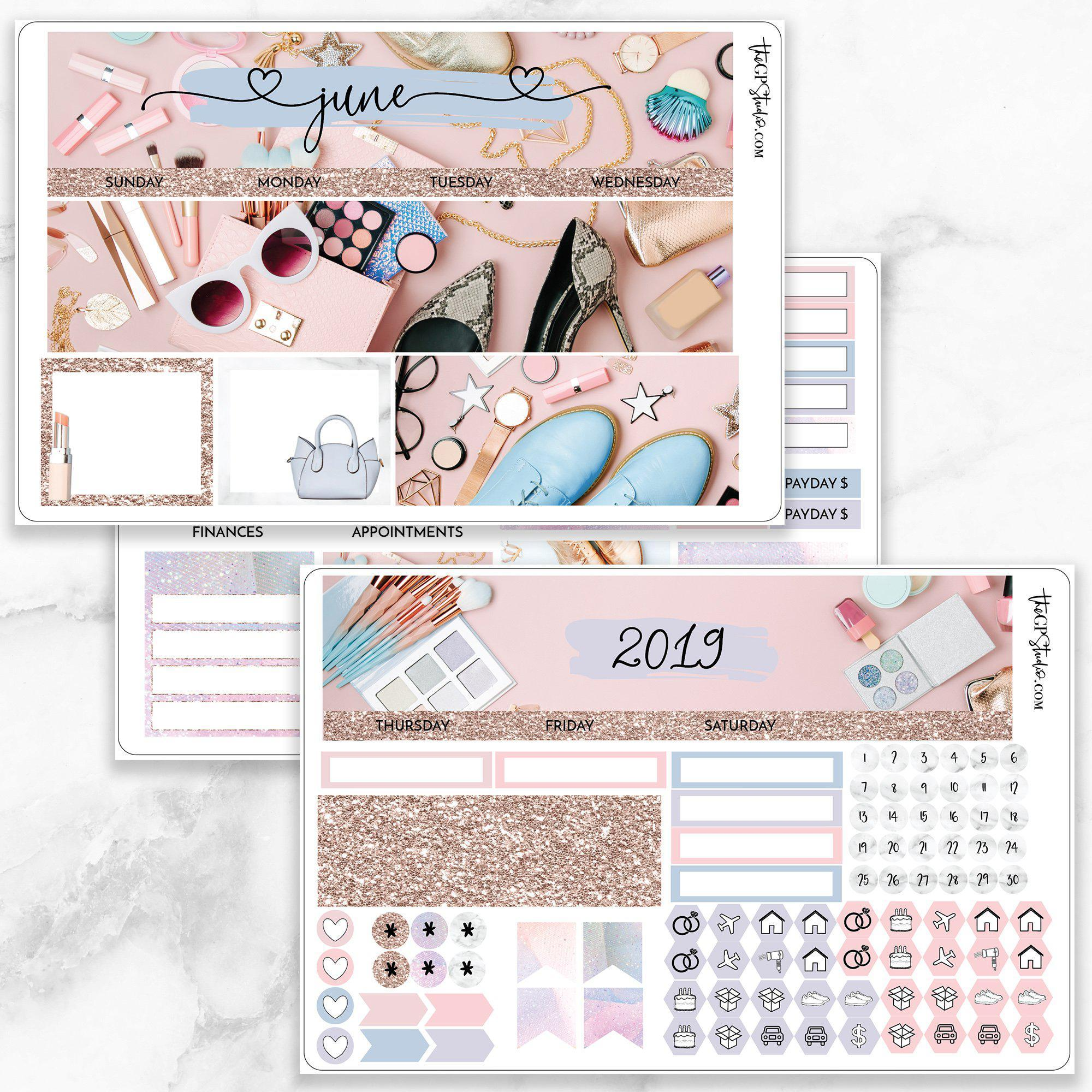 JUNE Monthly View Sticker Kit Erin Condren Size-The GP Studio