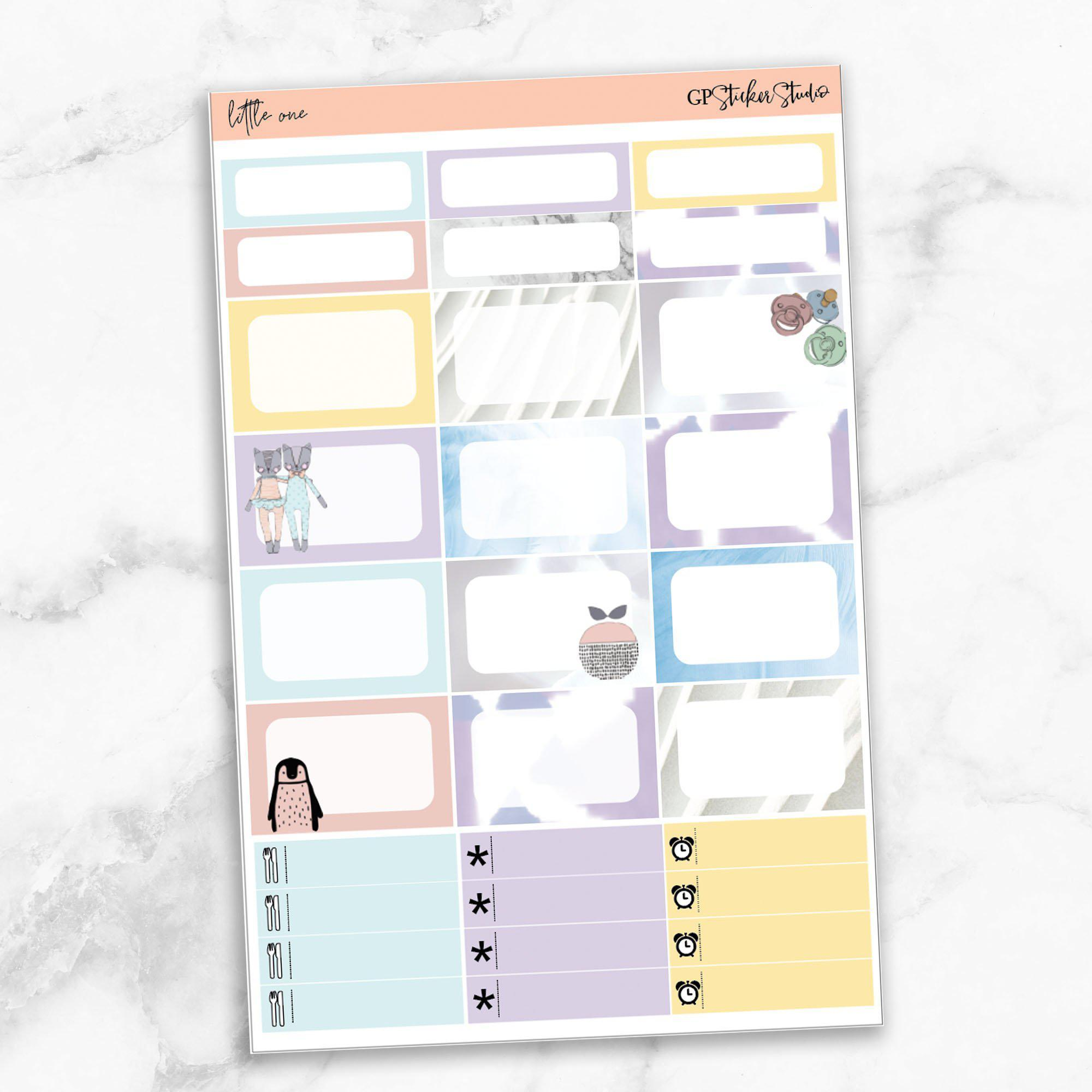 LITTLE ONE Half Boxes Planner Stickers-The GP Studio