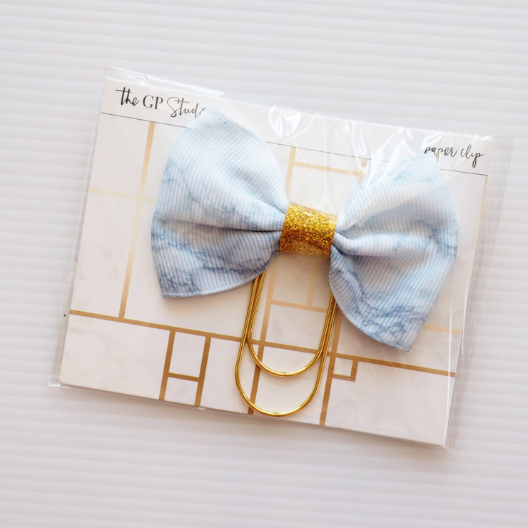 MARBLE GLITTER BOW PAPERCLIP-The GP Studio