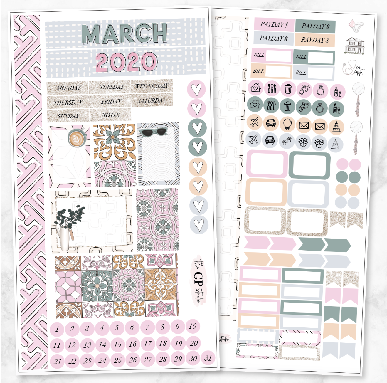 MARCH 2020 MONTHLY VIEW Personal/TN Size Stickers-The GP Studio