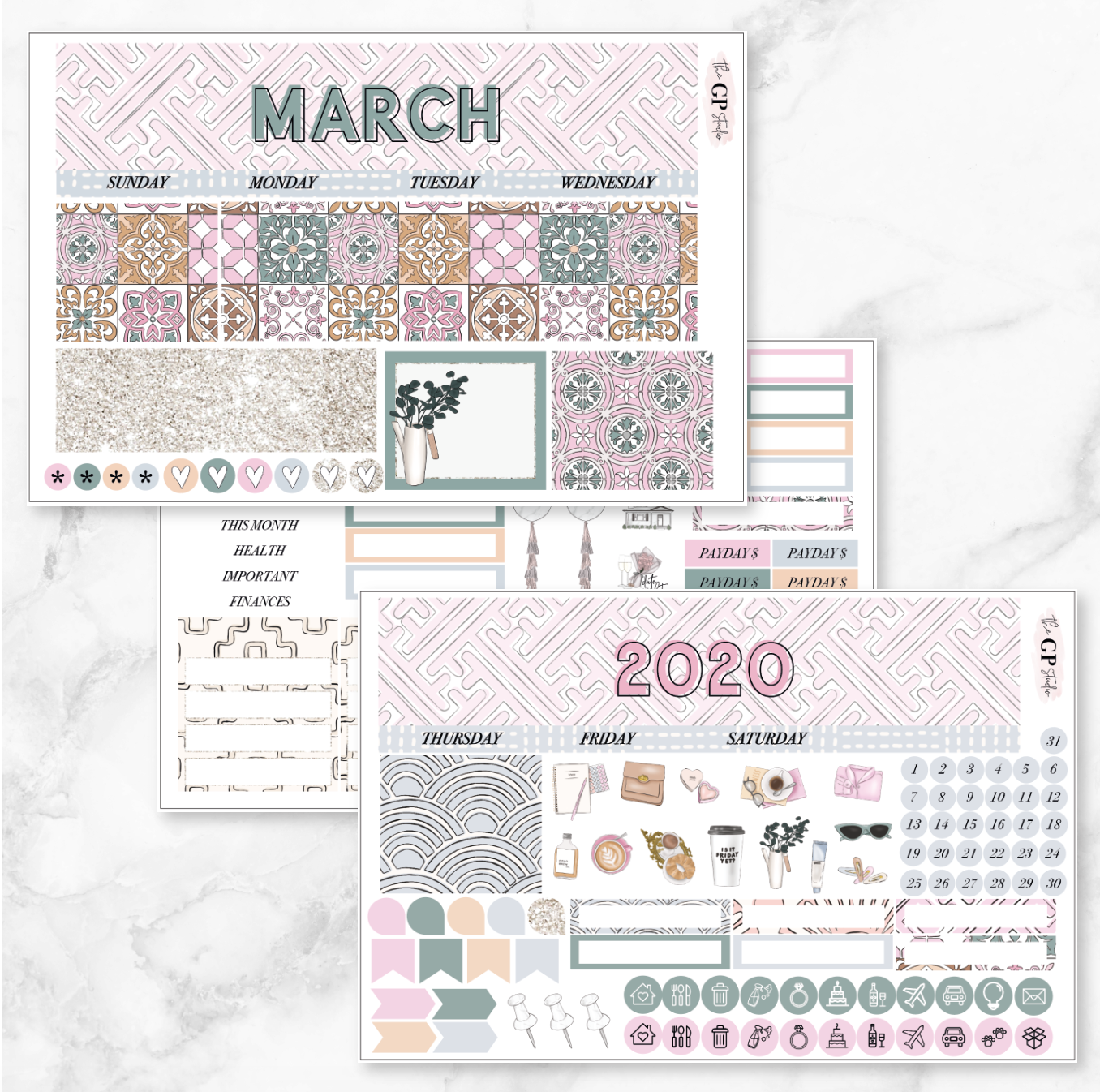 MARCH 2020 Monthly View Sticker Kit Erin Condren Size-The GP Studio