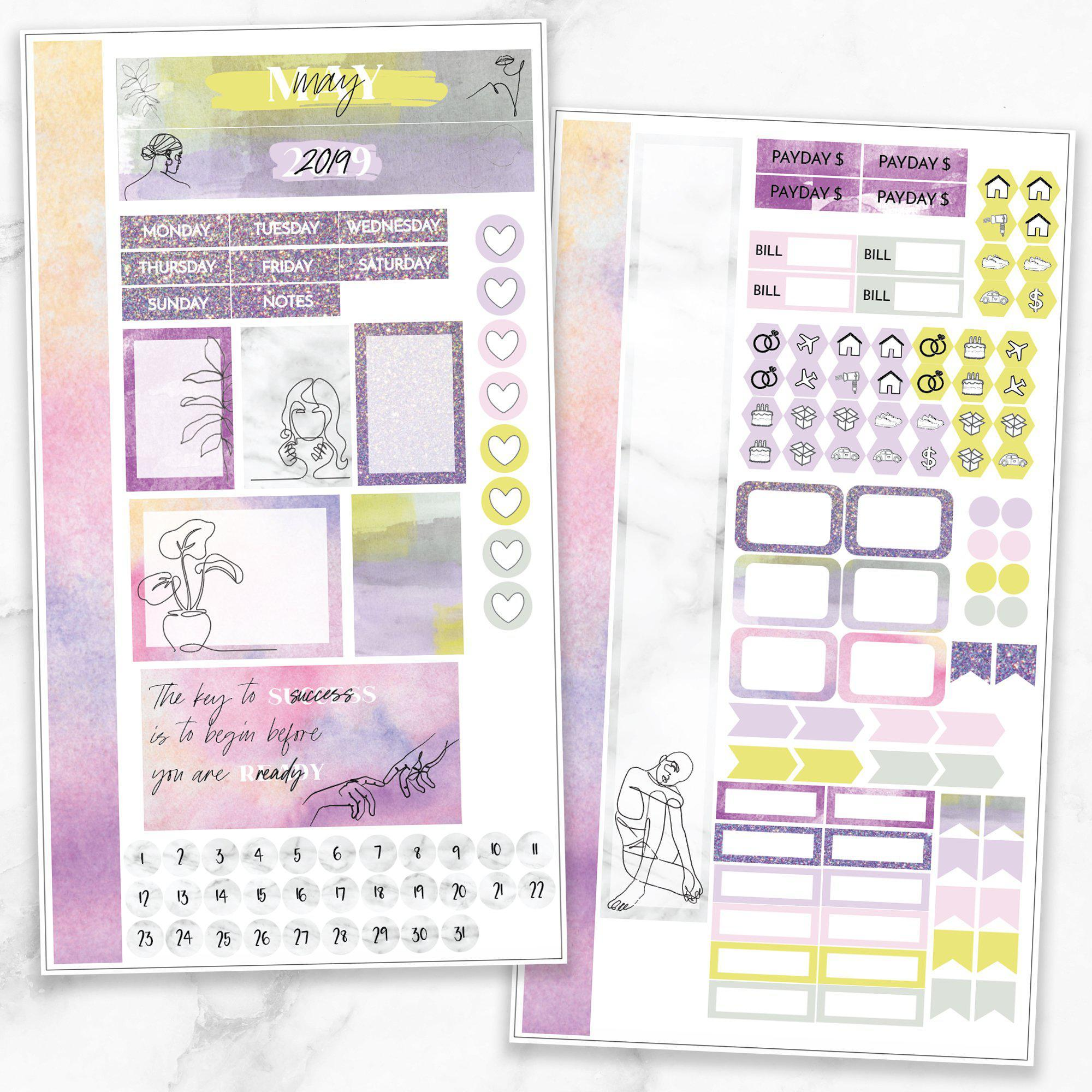 MAY MONTHLY VIEW Personal/TN Size Stickers-The GP Studio