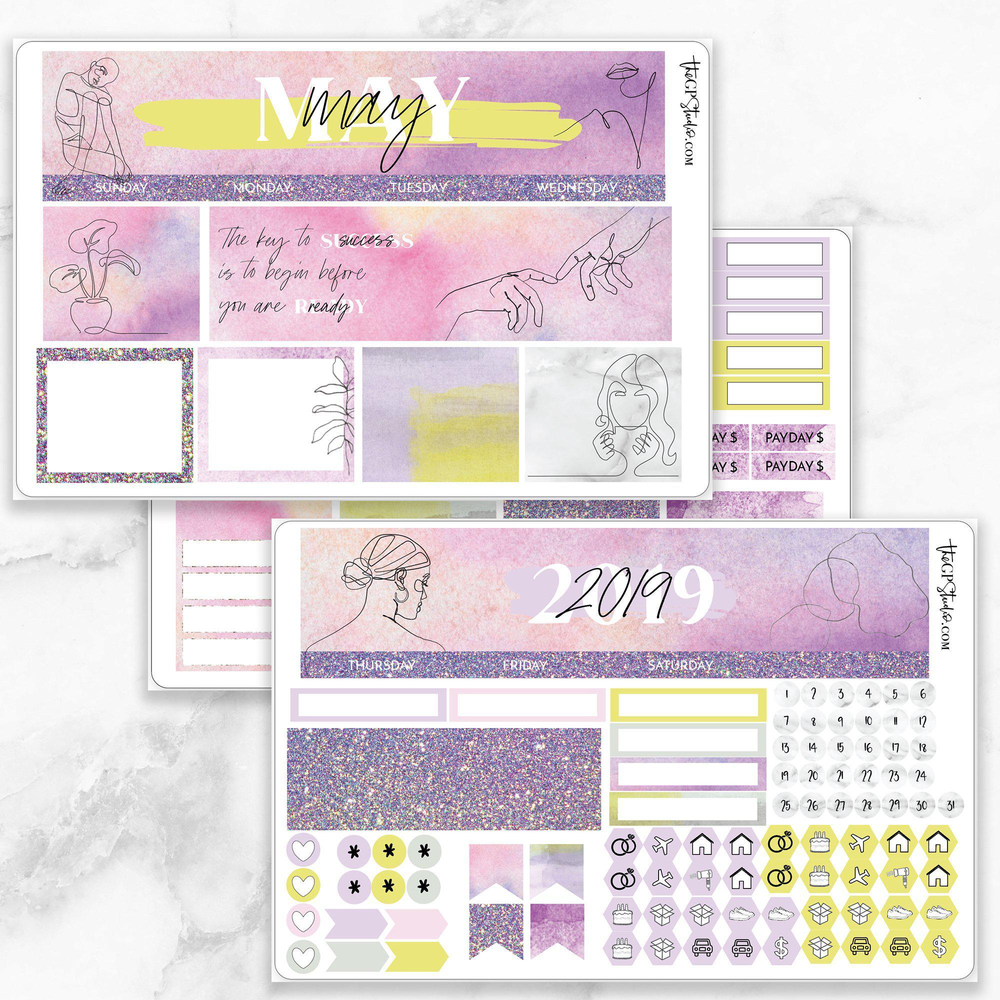 MAY Monthly View Sticker Kit Erin Condren Size-The GP Studio