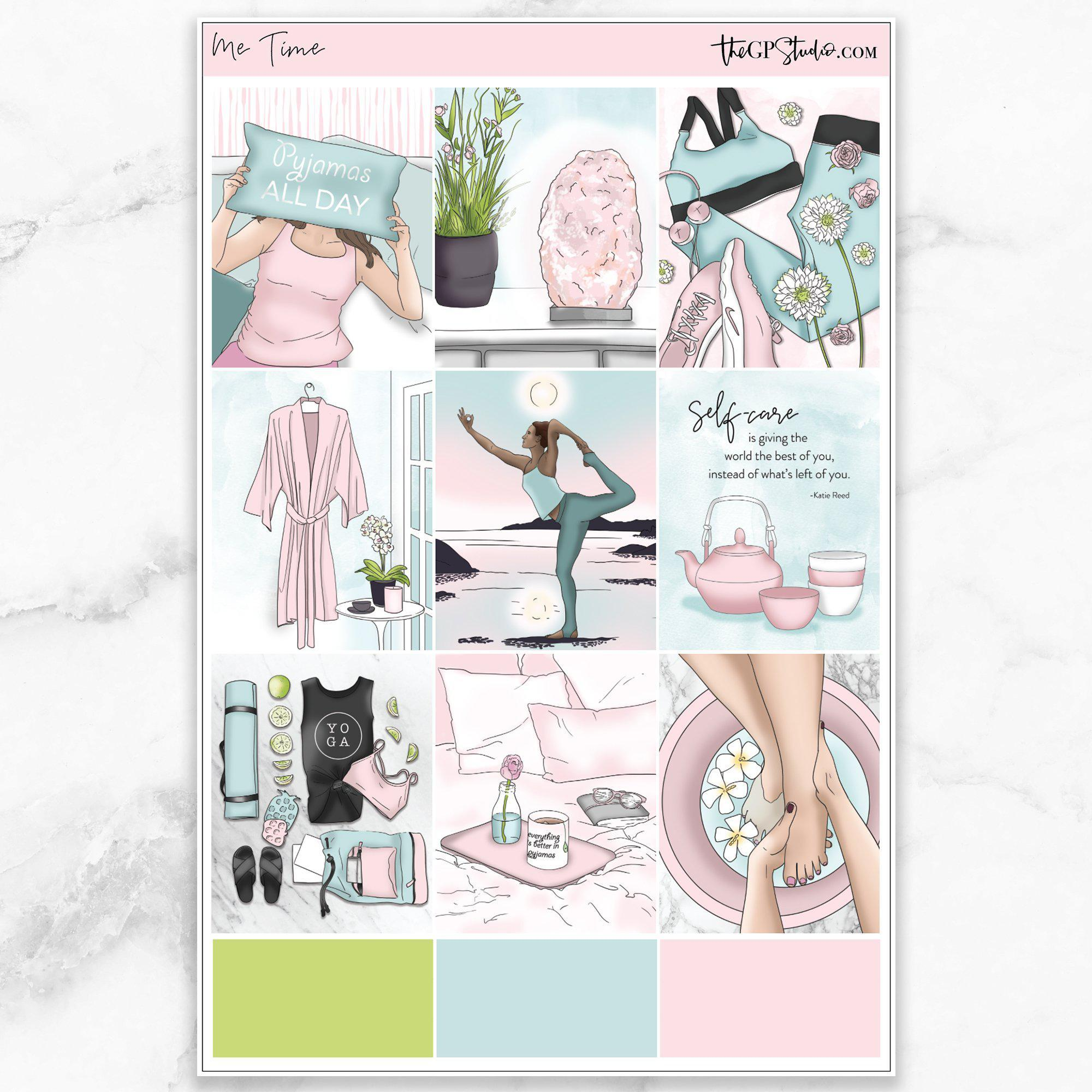 ME TIME Full Boxes Planner Stickers-The GP Studio