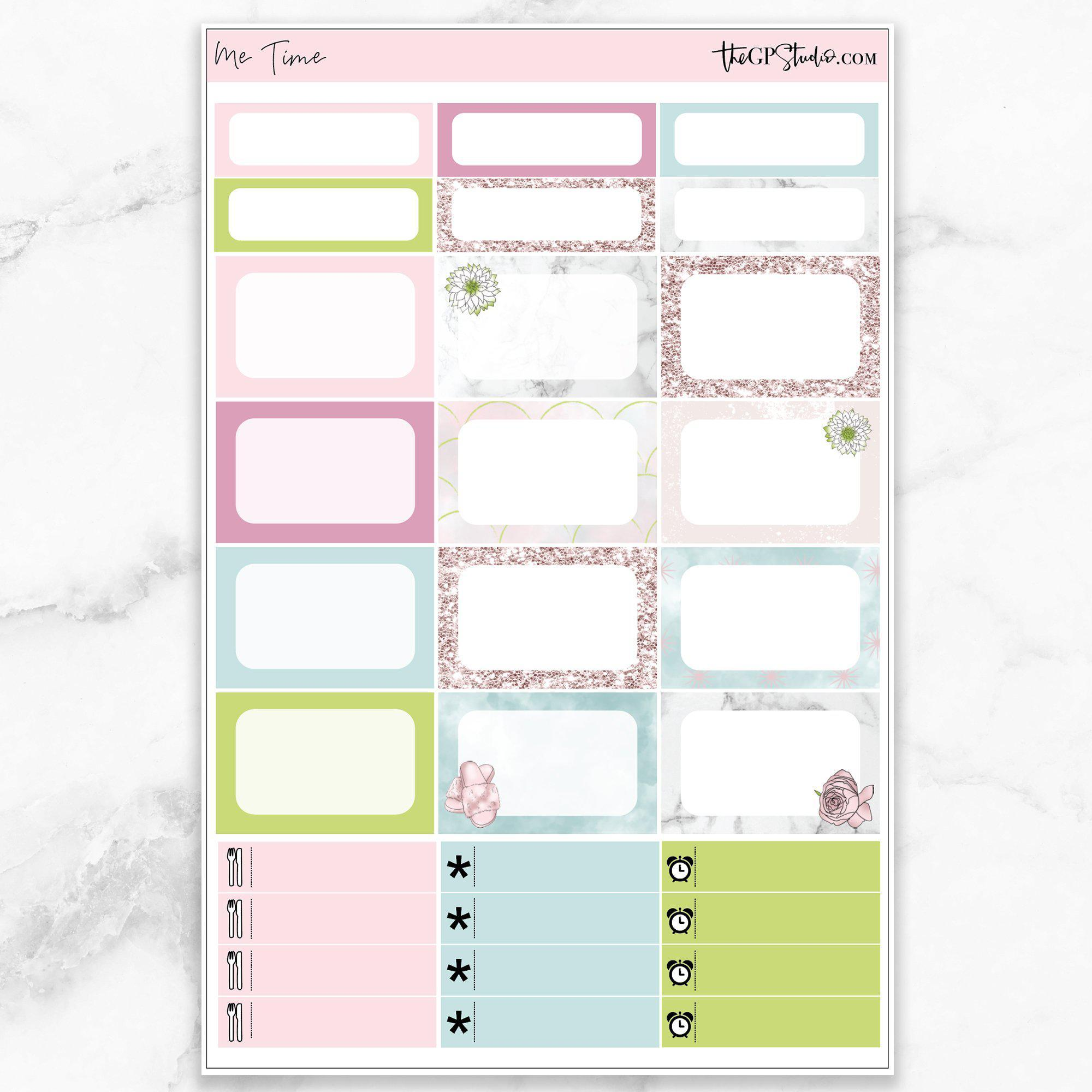 ME TIME Half Boxes Planner Stickers-The GP Studio