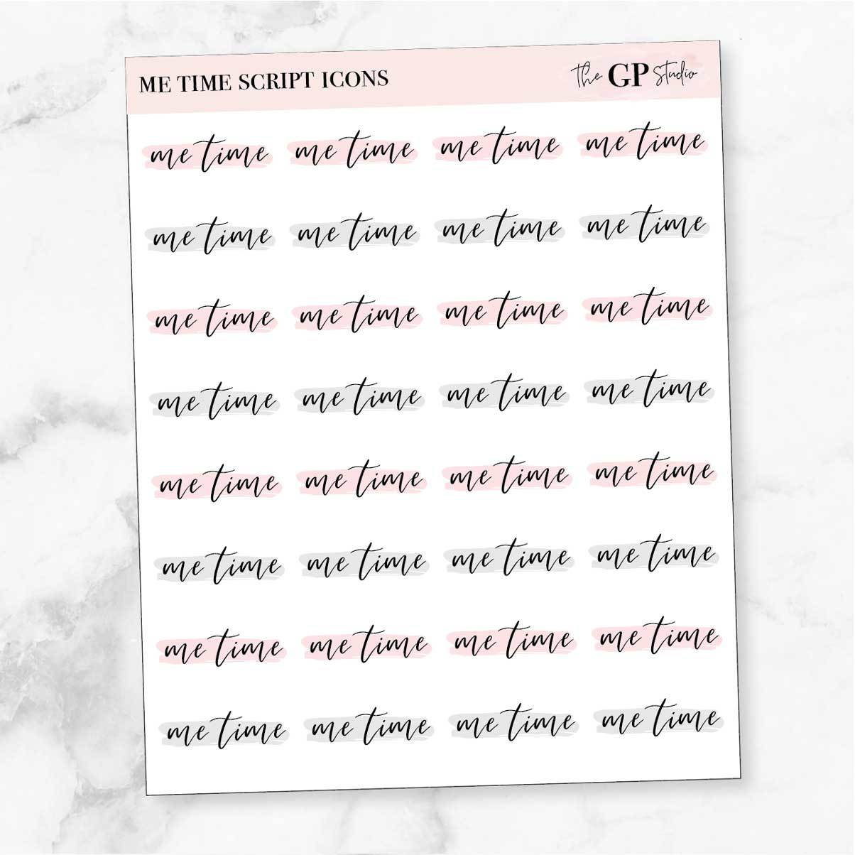 ME TIME Script Word Icon Planner Stickers-The GP Studio