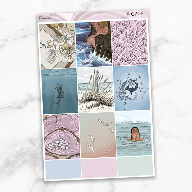 MERMAID Full Boxes Planner Stickers-The GP Studio
