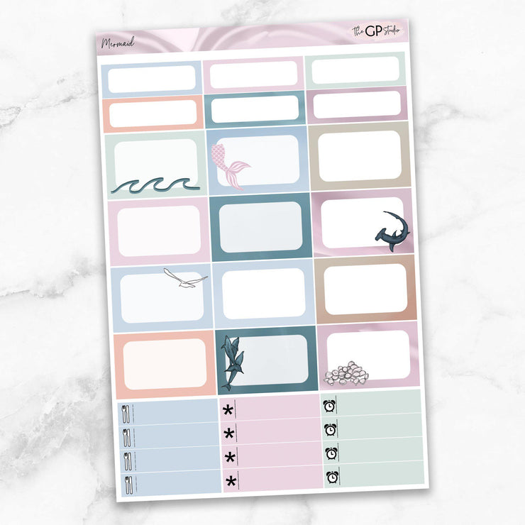 MERMAID Half Boxes Planner Stickers-The GP Studio