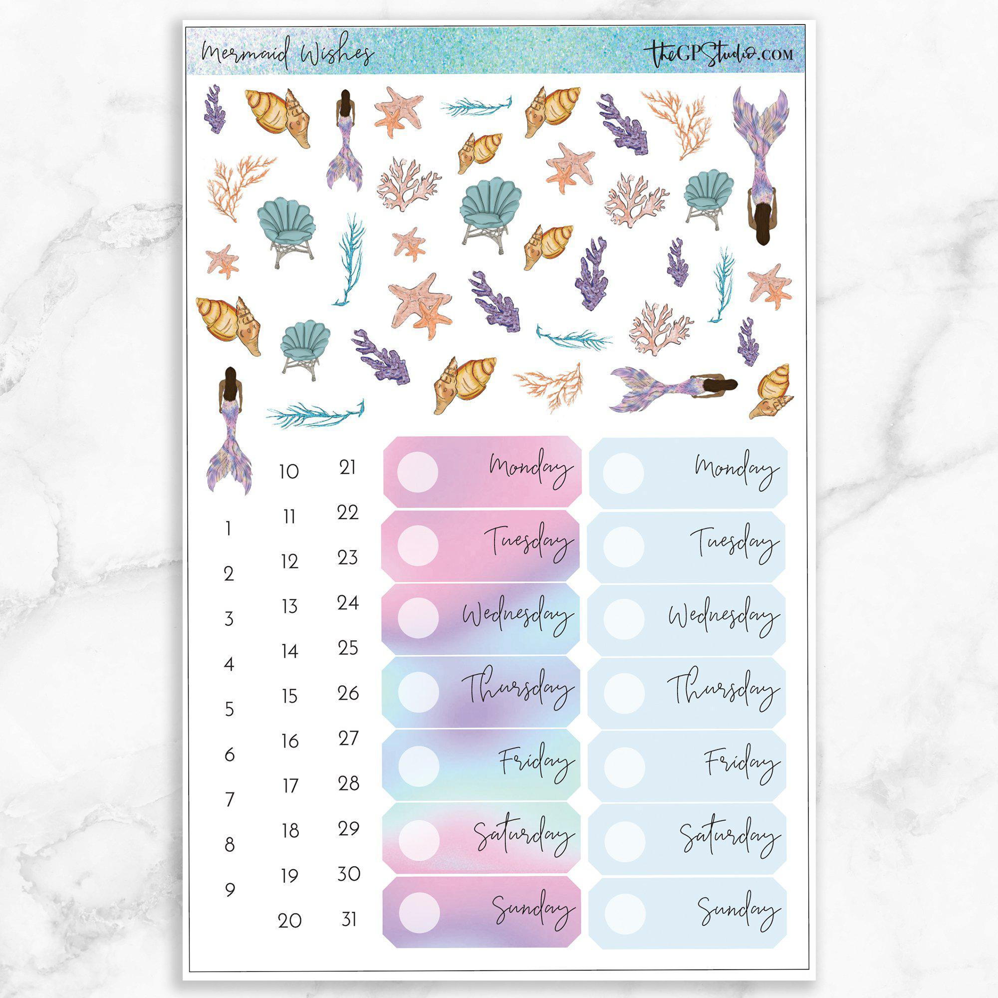 MERMAID WISHES Deco & Date Cover Stickers-The GP Studio