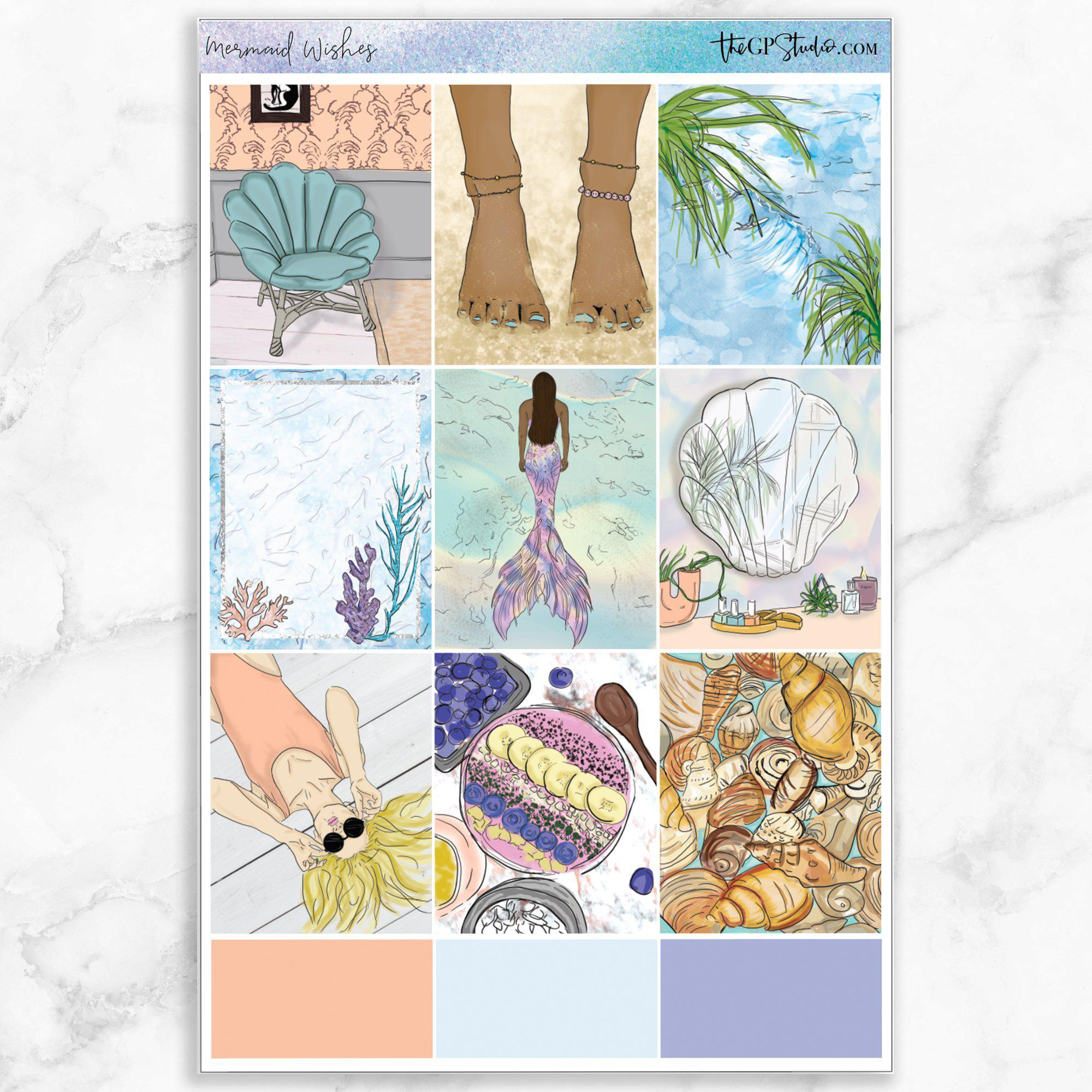 MERMAID WISHES Full Boxes Planner Stickers-The GP Studio
