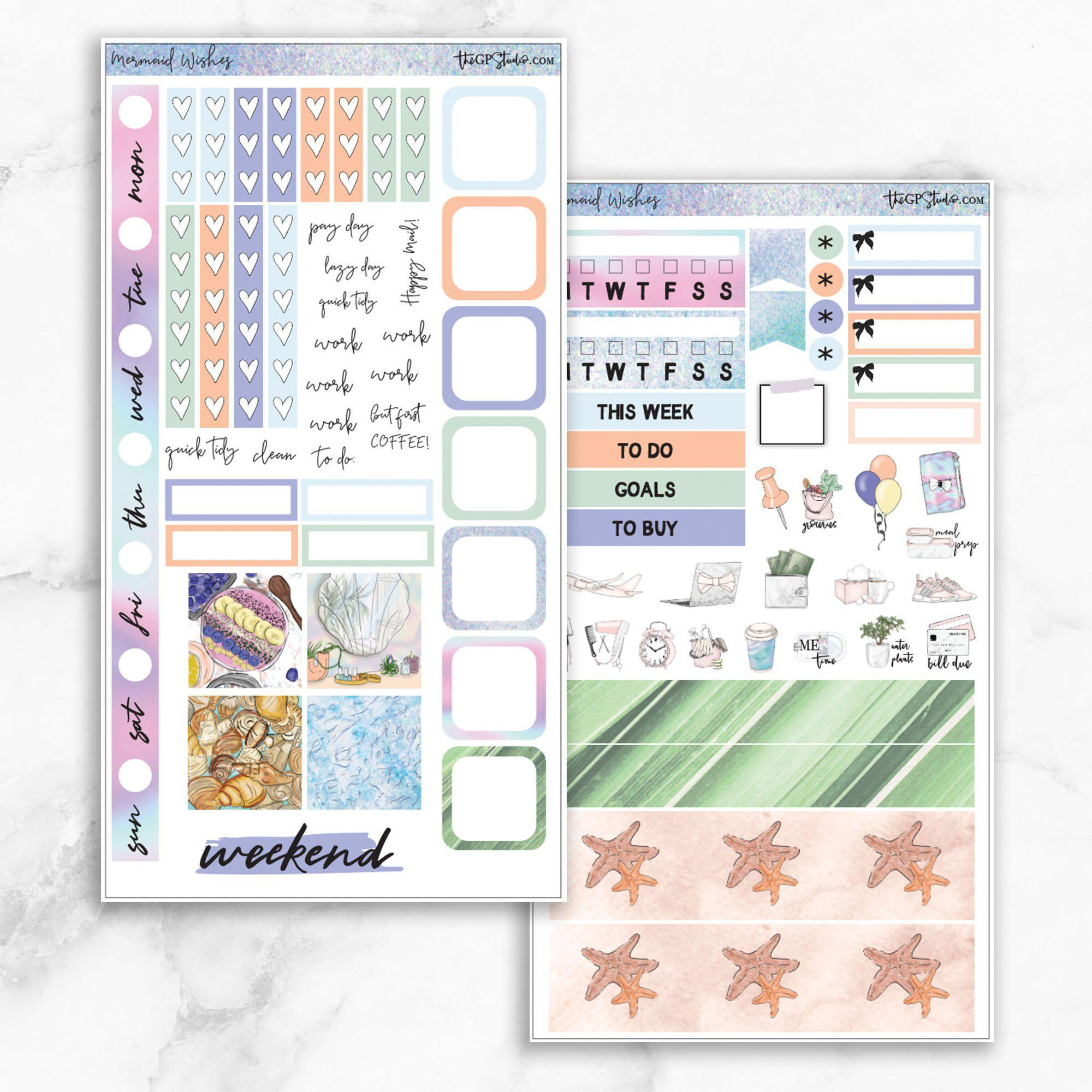 MERMAID WISHES Hobonichi Weekly Size Planner Sticker Kit-The GP Studio