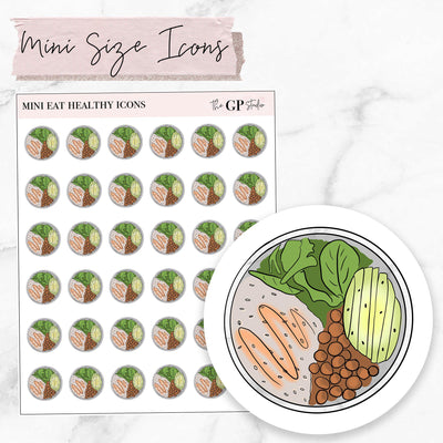 Mini EAT HEALTHY Icons Stickers-The GP Studio