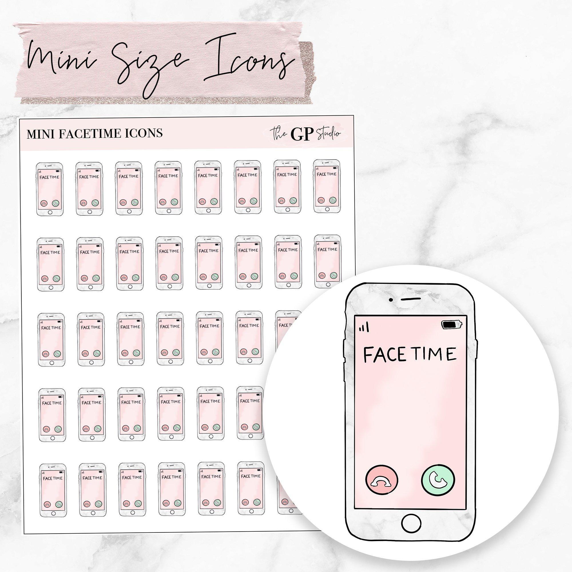 Mini FACETIME Icons Stickers-The GP Studio