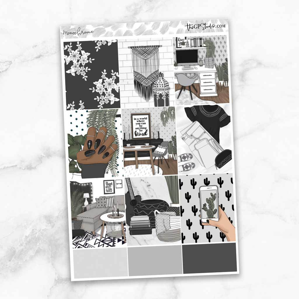 MONOCHROME Full Boxes Planner Stickers-The GP Studio