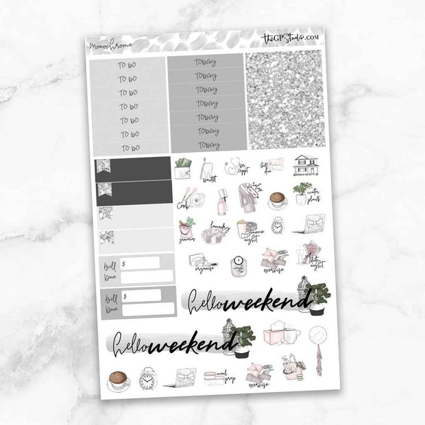 MONOCHROME Functional Planner Sticker Kit-The GP Studio