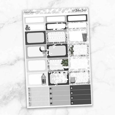 MONOCHROME Half Boxes Planner Stickers-The GP Studio