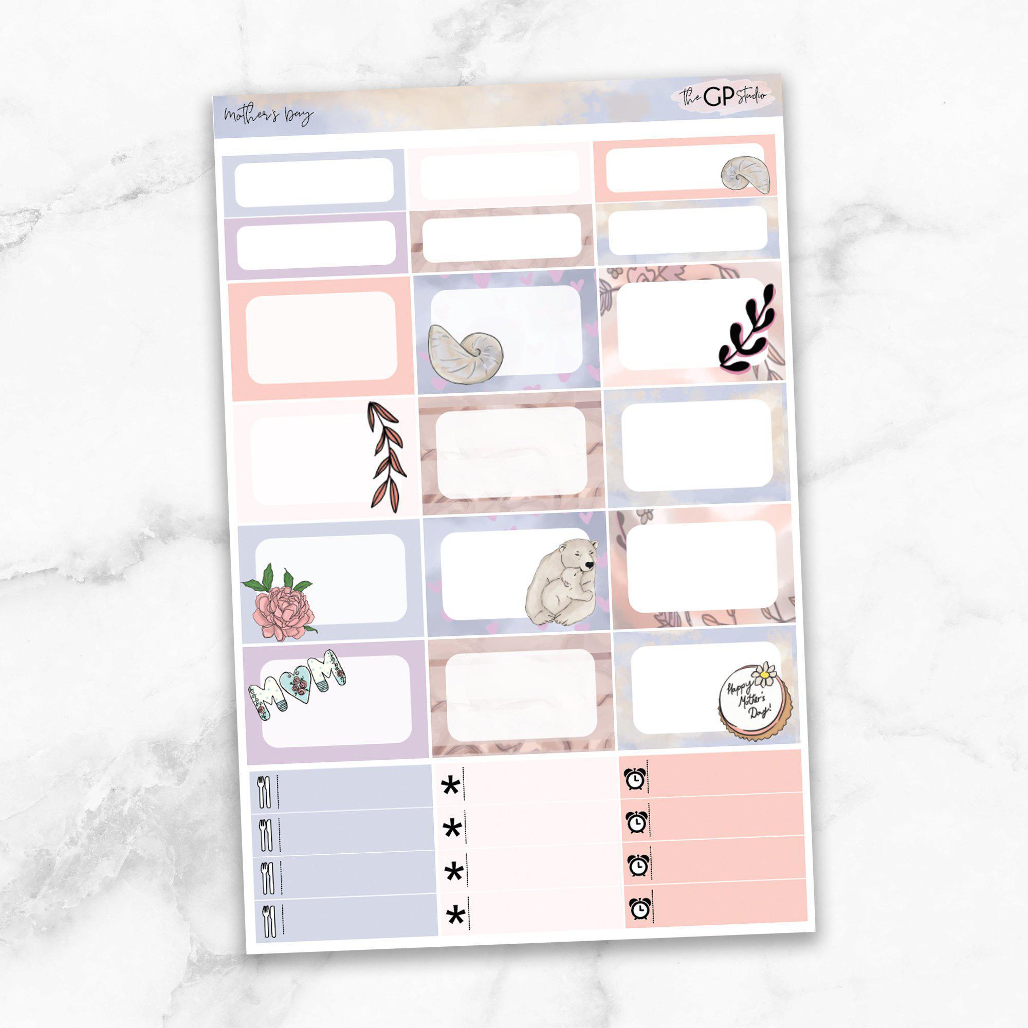 MOTHER'S DAY Half Boxes Planner Stickers-The GP Studio