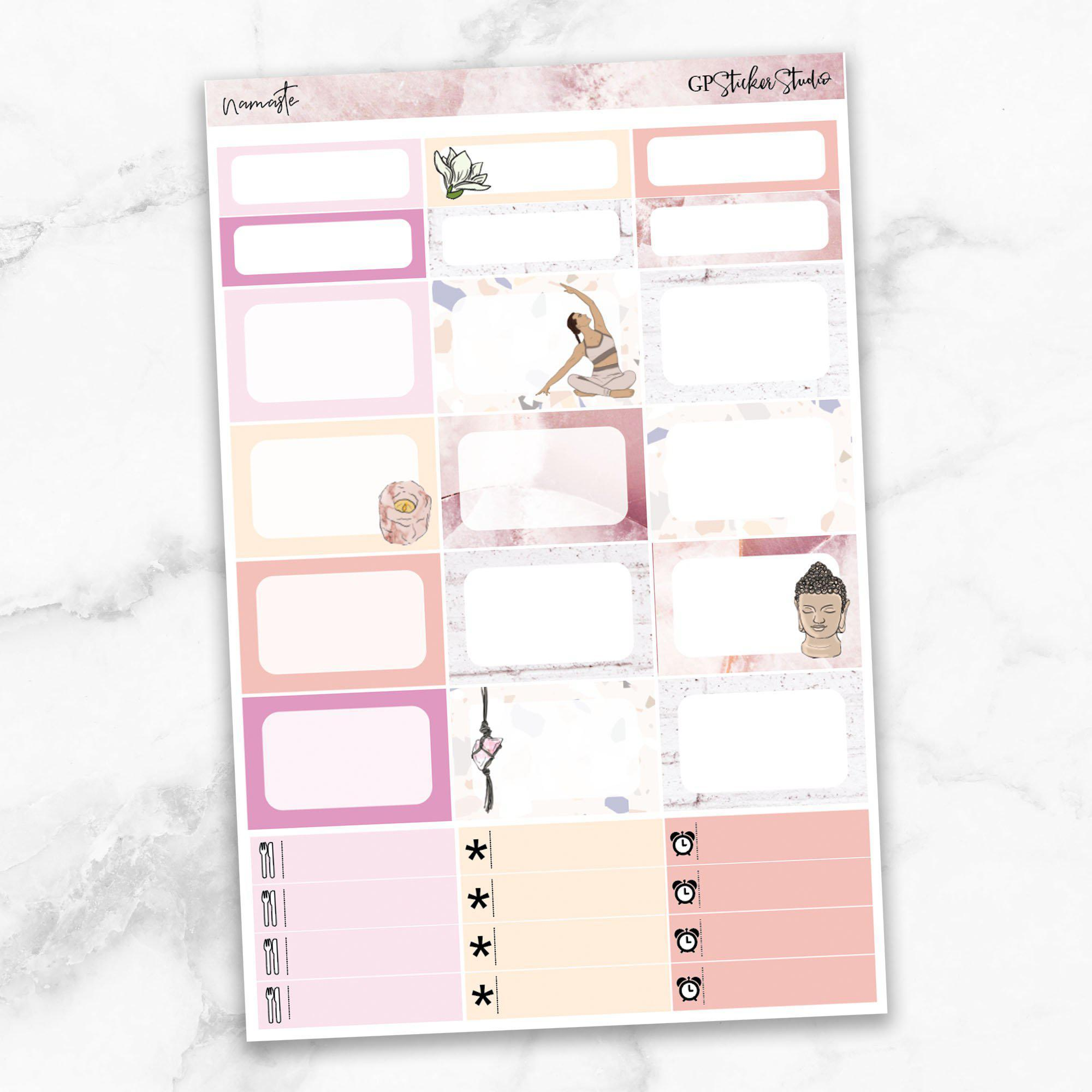 NAMASTE Half Boxes Planner Stickers-The GP Studio