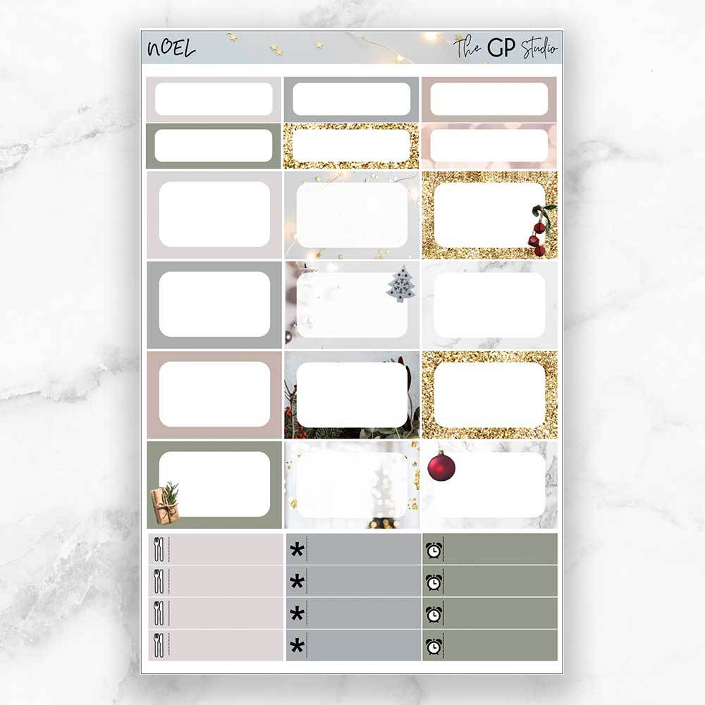 NOEL Half Boxes Planner Stickers-The GP Studio