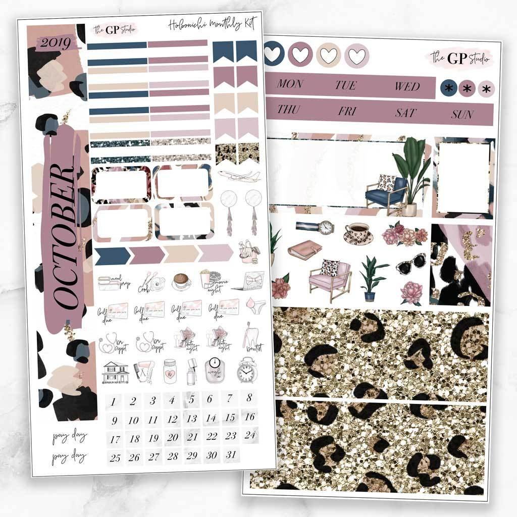 OCTOBER MONTHLY Sticker Kit Hobonichi Week's Size-The GP Studio