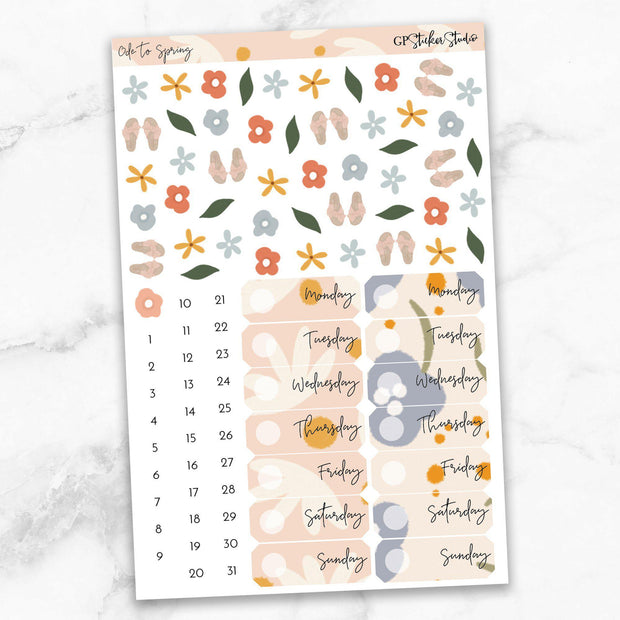 ODE TO SPRING Deco & Date Cover Stickers-The GP Studio