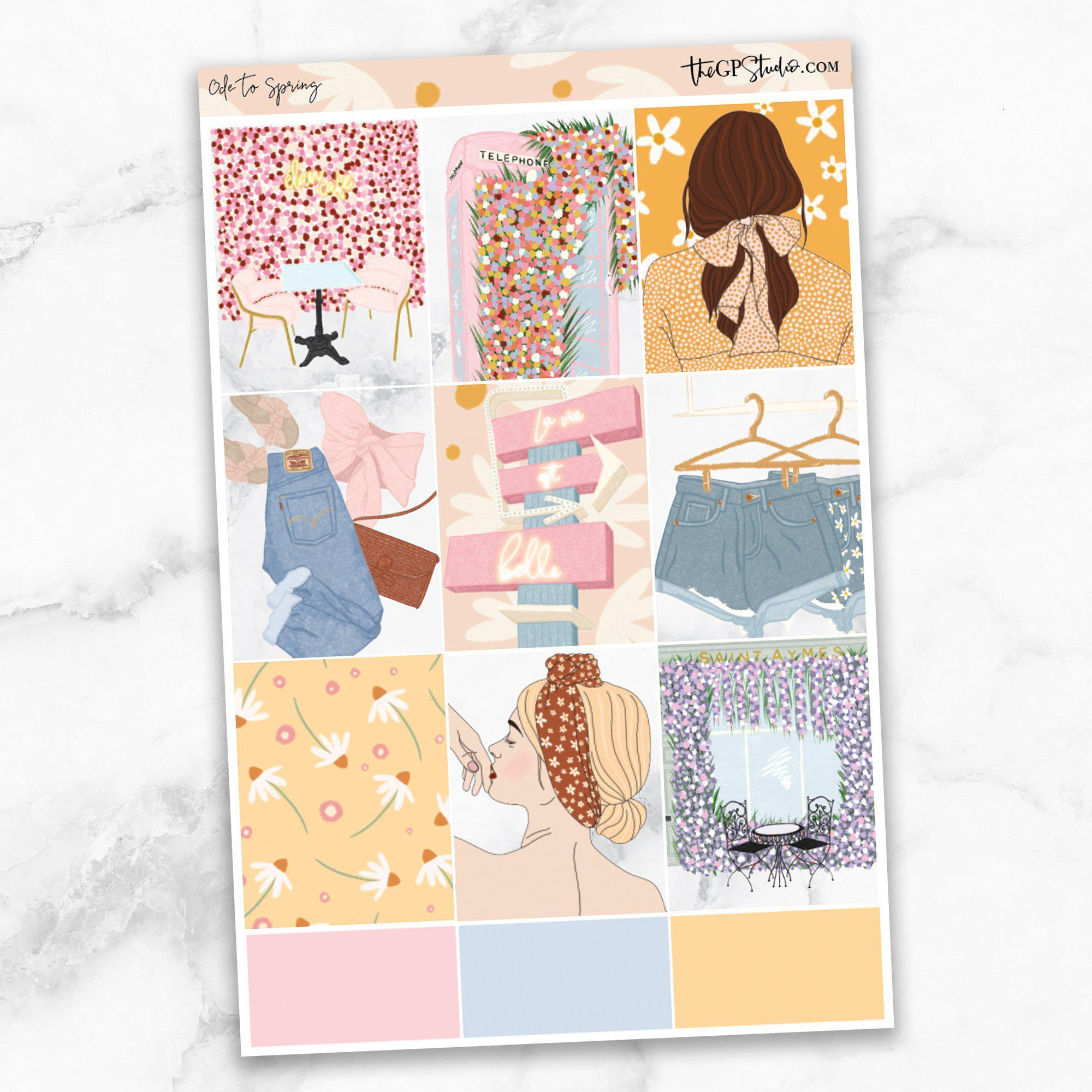 ODE TO SPRING Full Boxes Planner Stickers-The GP Studio
