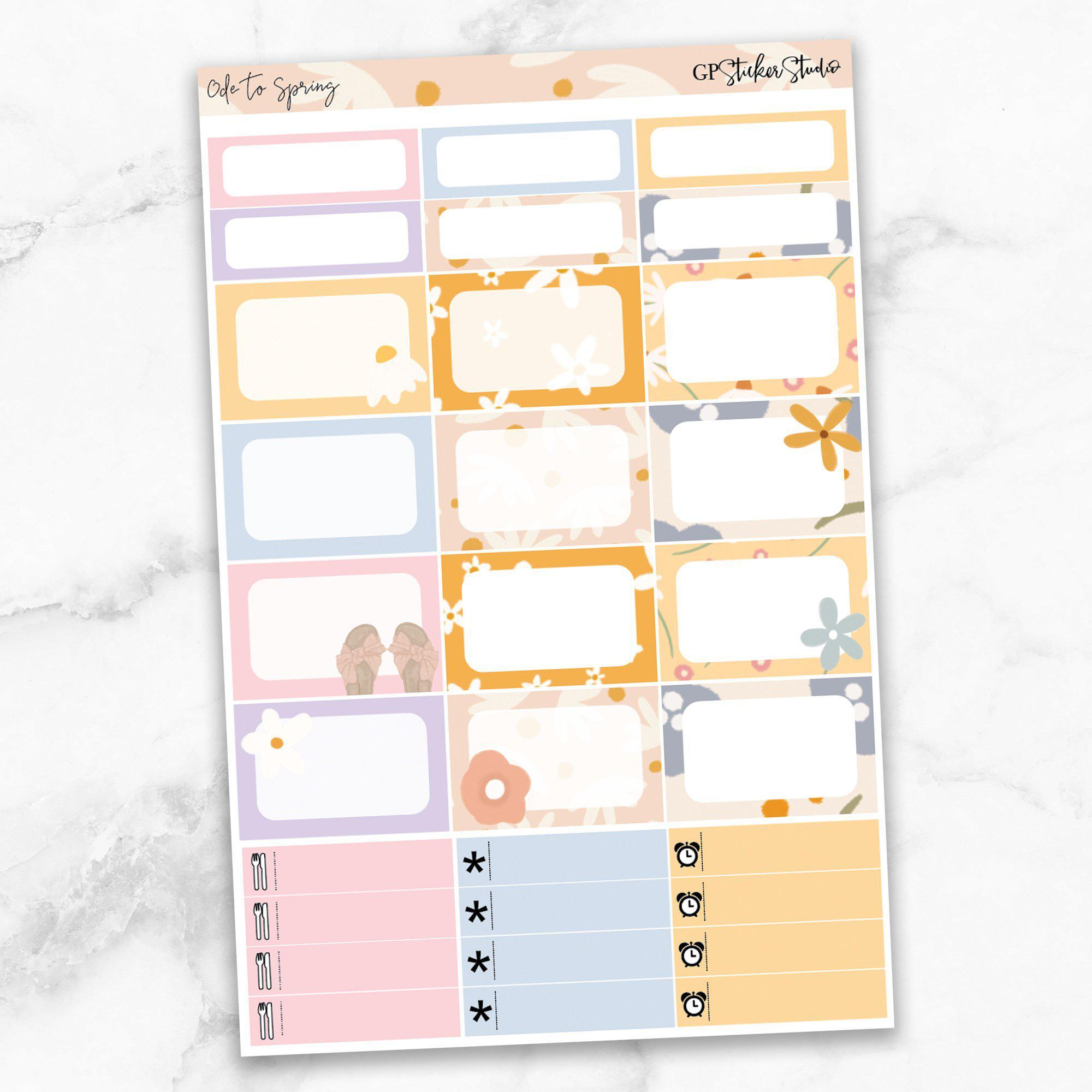 ODE TO SPRING Half Boxes Planner Stickers-The GP Studio