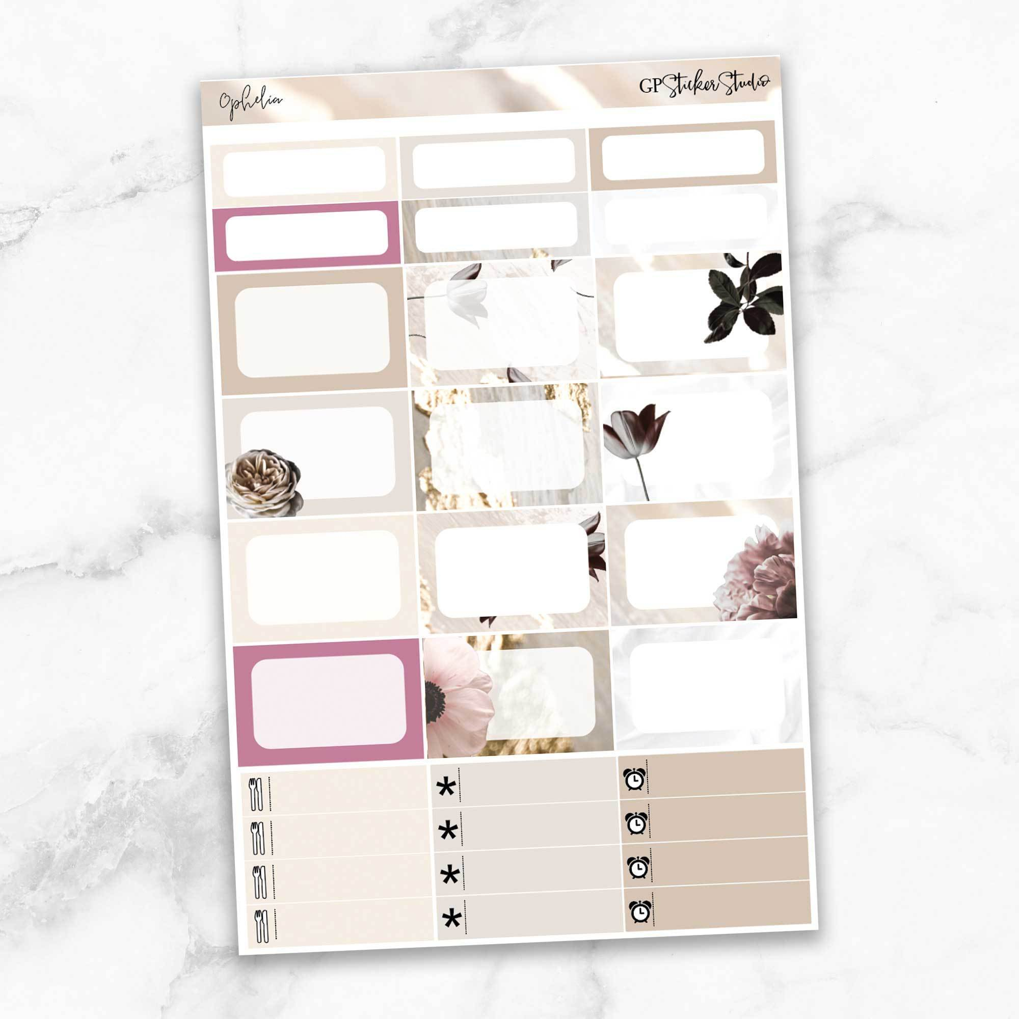 OPHELIA Half Boxes Planner Stickers-The GP Studio