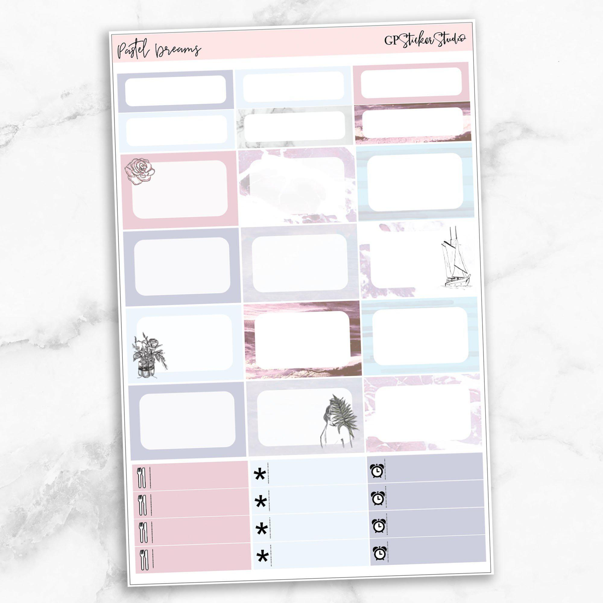 PASTEL DREAMS Half Boxes Planner Stickers-The GP Studio