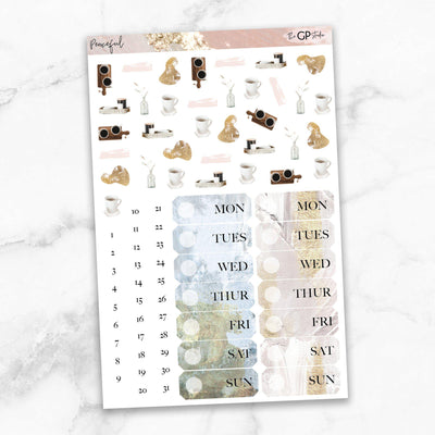 PEACEFUL Deco & Date Cover Stickers-The GP Studio