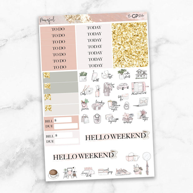 PEACEFUL Functional Planner Sticker Kit-The GP Studio