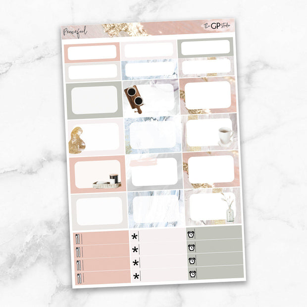 PEACEFUL Half Boxes Planner Stickers-The GP Studio