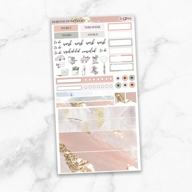 PEACEFUL Hobonichi Weekly Size Planner Sticker Kit-The GP Studio